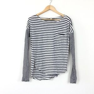 Ann Taylor LOFT Cotton Striped Long Sleeve Shirt